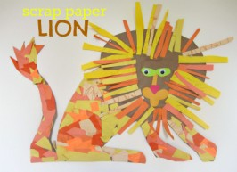 scrap paper lion craft for kids