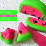 Watermelon Playdough Slicing