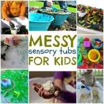 messy sensory tubs for kids