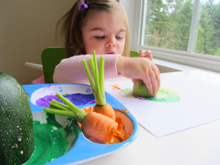 painting with garden vegetables