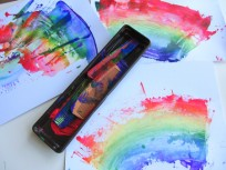 rainbow painting with kids