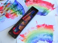 rainbow painting with kids