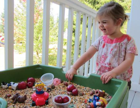 autumn themed sensory tub