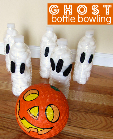 Ghost Bottle Bowling on halloween recycled bottle monster