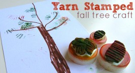 Yarn Stamped Fall Tree Craft