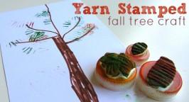 Yarn Stamped Fall Tree Craft
