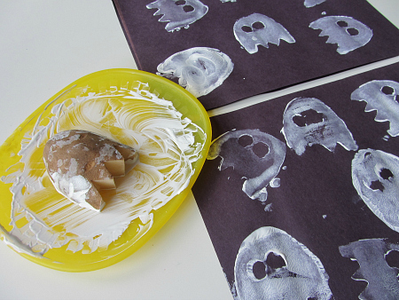 ghost potato prints - Preschool Crafts For Halloween
