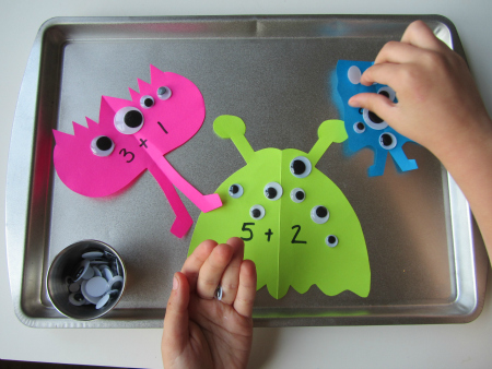 monster math tray for kids