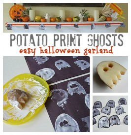 Potato Print Ghost Garland