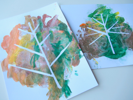 tape relief painting with leaves