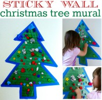 Sticky Wall Christmas Tree Mural activity for toddlers