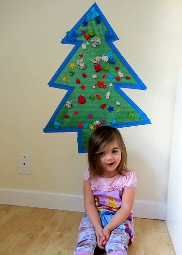 sticky wall christmas tree proud girl