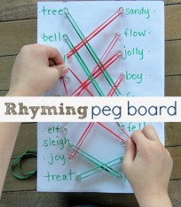 Rhyming pegboard literacy activity for kids
