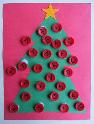 alphabet xmas tree
