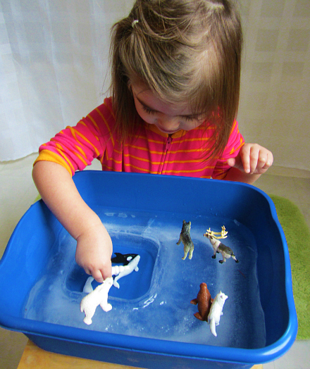 arctic animal and ice sensory play