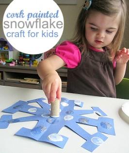 Cork Stamped Snowflake Craft
