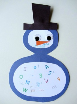 letter snowman alphabet craft for kids