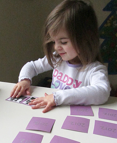 memory and match game for kids and toddlers for new years