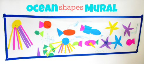 ocean mural art project for under the sea week at preschool