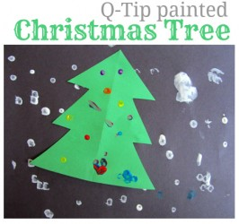 Simple Q-Tip Painted Christmas Tree