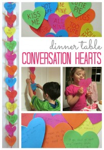 conversation hearts dinner time activity for families