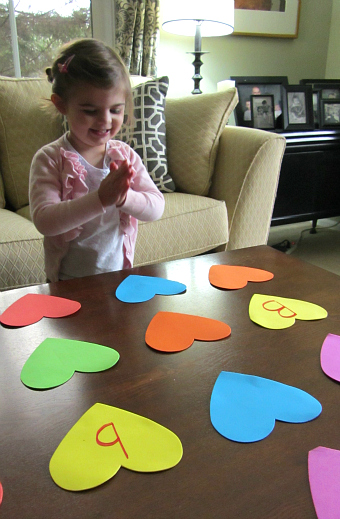 heart letter match for valentine's day