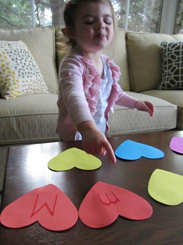heart letter memory game