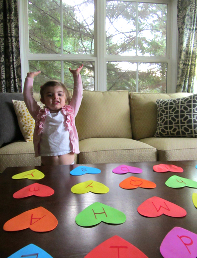 heart shaped letter match game for kids