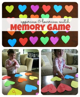 heart shaped upper case & lowercase letter memory game
