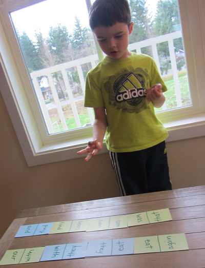 sight word race for kindergarten
