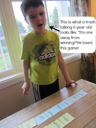 sight word race game for kindergarten kids