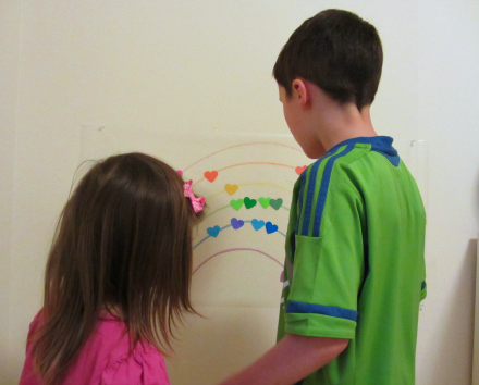 valentines' day heart mural for kids