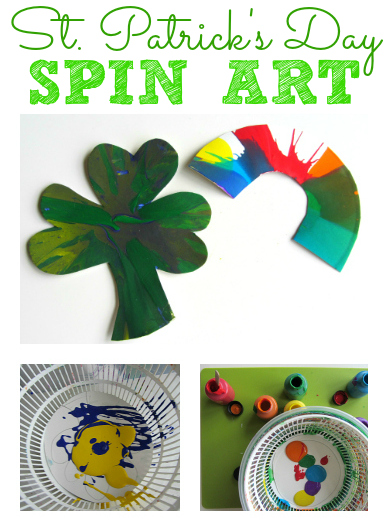 St.Patrick's Day Spin art for kids from no time for flash cards