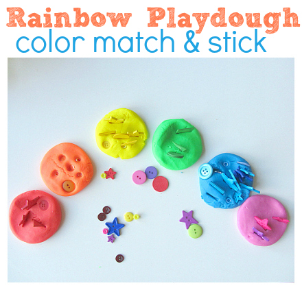 rainbow playdough color match and stick