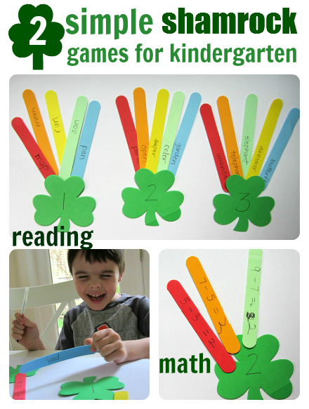 Easy St. Patrick's Day learning games for kindergarten