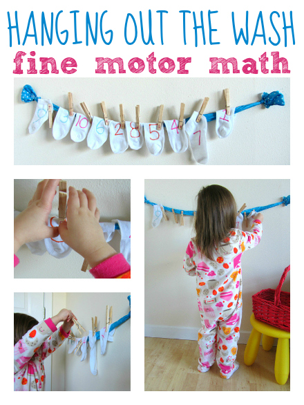 dirty socks number match and fine motor activity