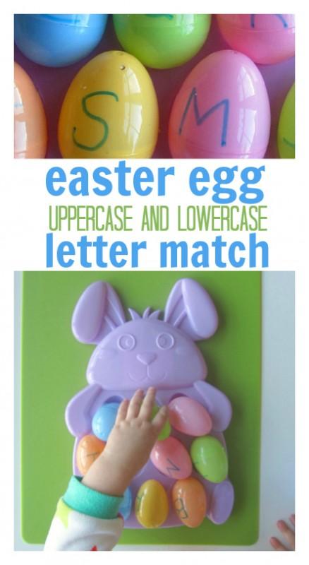 easter egg letter match alphabet activity for preschool title