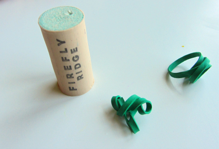 fine motor cork and elastic bands exercise