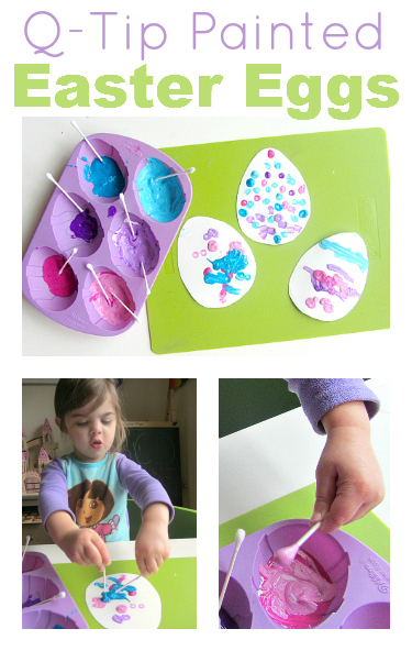 q-tip painted easter egg fine motor craft for toddlers no tie for flash cards