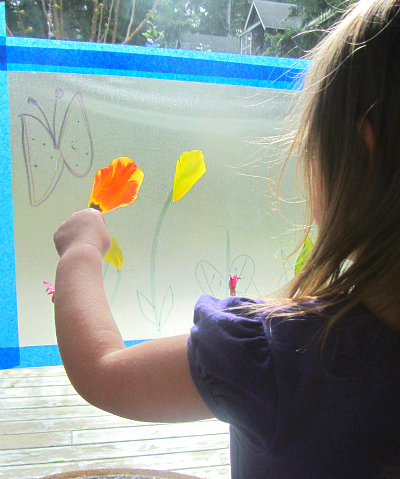 sticky window garden craft for kids