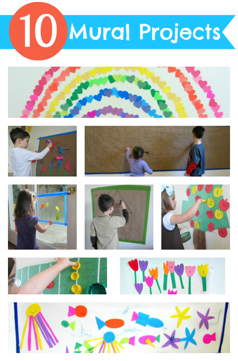 10 mural projects for kids no time for flash cards for Arts and crafts mural