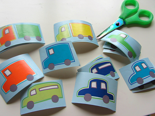 alphabet sorting for preschool with cars and trucks