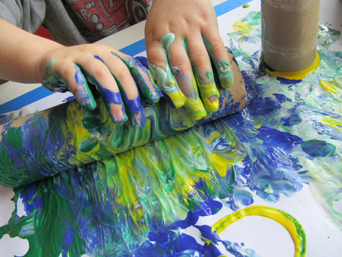 earth day painting with toilet paper rolls