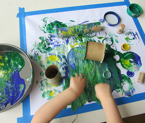painting with recycled objects