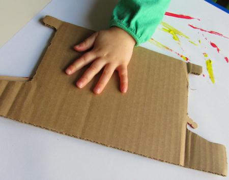 toddler woodcut printing