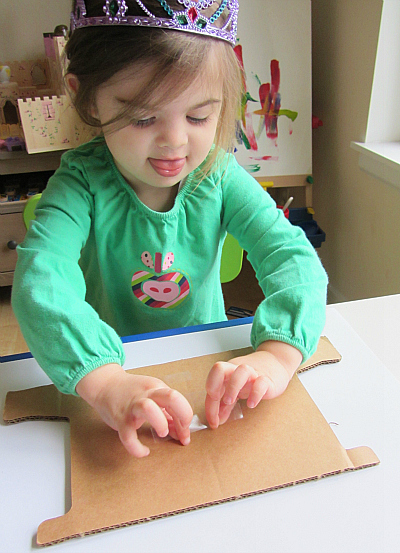 wood cut printing for toddlers