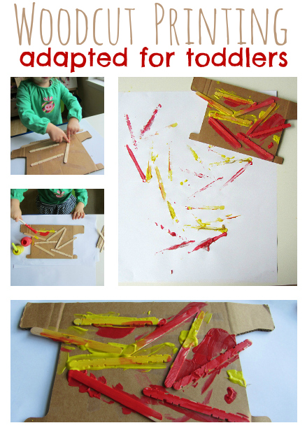 woodcut printing for toddlers from no time for flash cards