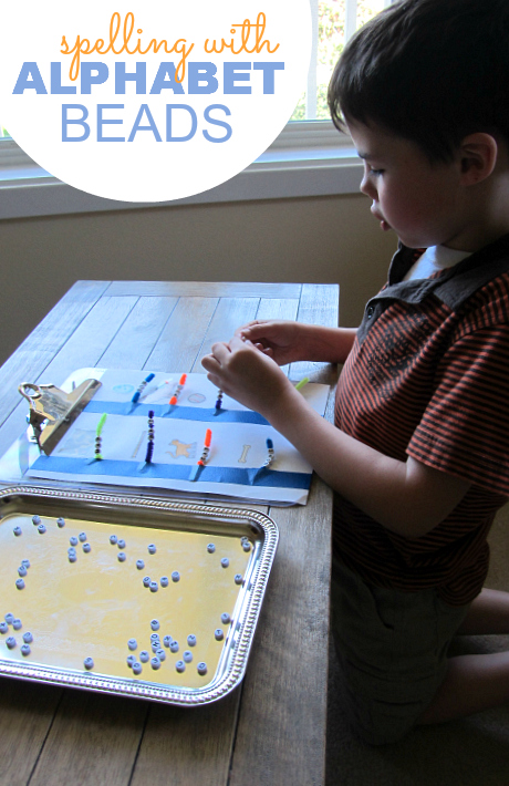 Spelling with alphabet beads for kindergarten