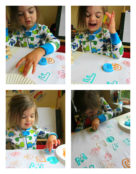 abc painting with letter cookie cutters