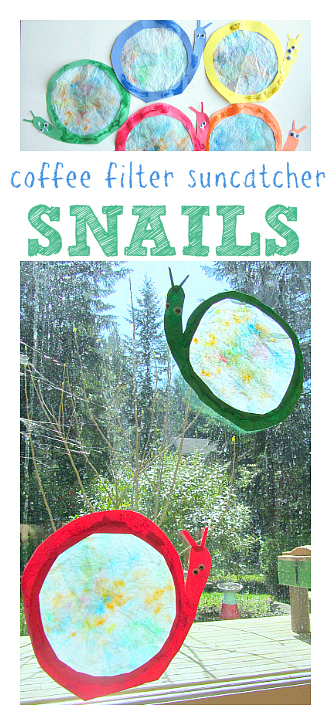 coffee filter snail suncatcher craft for kids